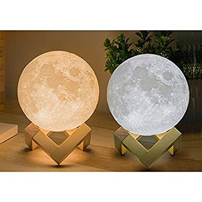 OriGlam Moon Lamp | 3D Printing Lunar Lamp Night Light, 3D Printed Dimmable Touch Control, Two Color Change Rechargeable LED Light as Gift for Home Christmas Decorations