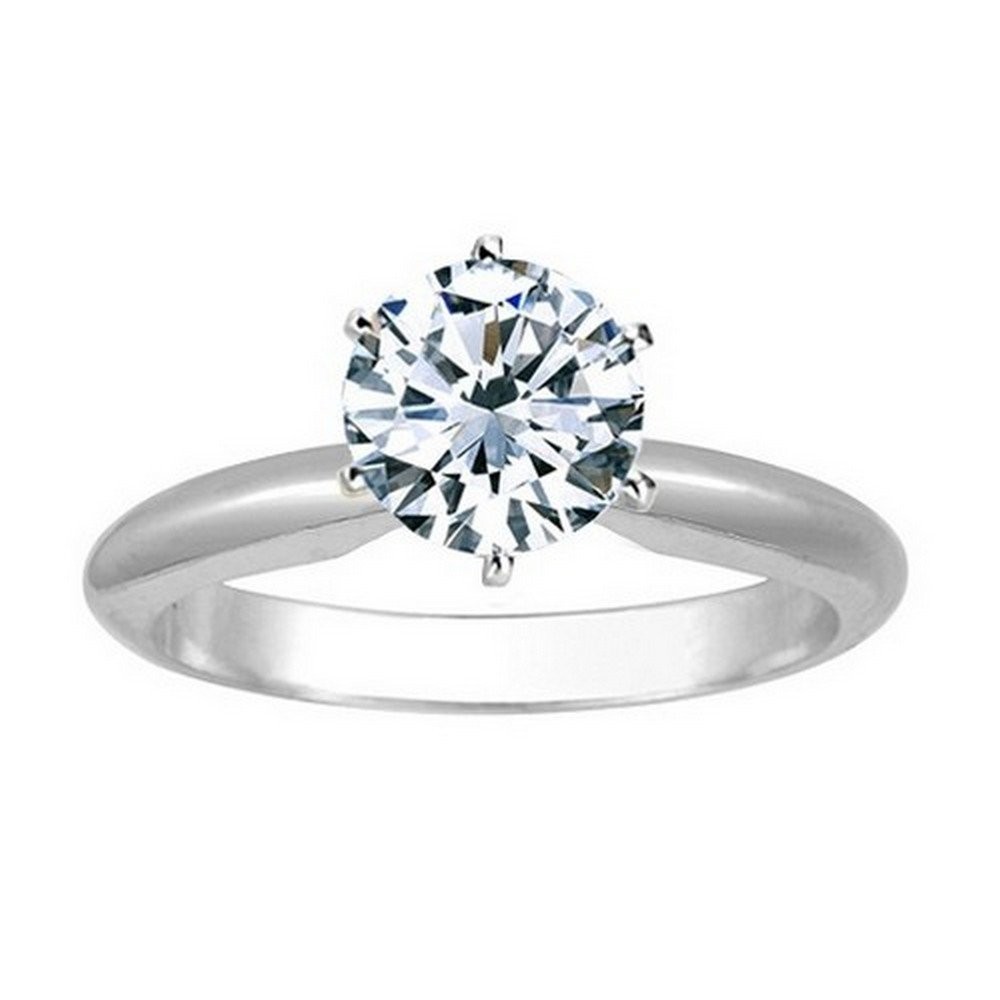 14K White Gold Round Cut 6 Prong Solitaire Diamond Engagement Ring (2 Carat I-J Color I1 Clarity)