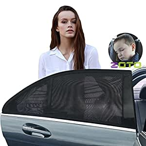 ZOTO Car Rear Window Sun Shade, Premium Breathable Mesh Sun Shield protect Baby/Pet from Sun's Glare & Harmful UV Rays, Universal Car Curtains Fit For Cars, Trucks and SUV's (Pack of 2,Large Size)