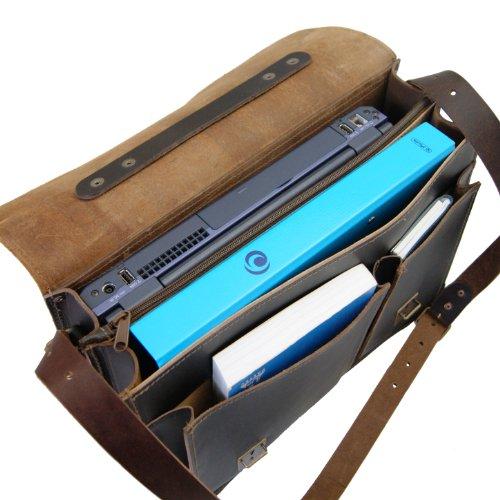 fino Marrón a Hombre Para valigetta medio 15 per marrone De Maltzahn Cuero laptop Bolso Asas Von pollici Freiherr Tabacco q804Za