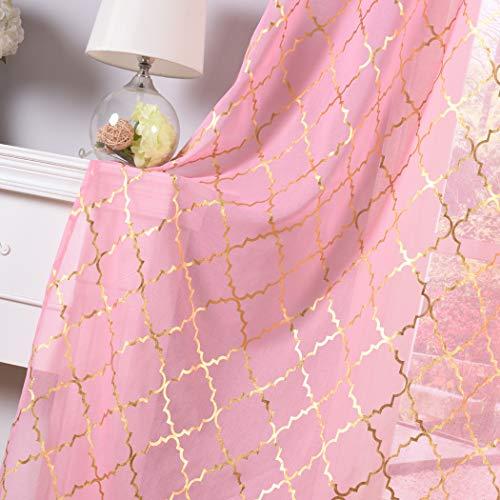 Kotile Girls Room Decor with Gold Foil Print Moroccan Tile Patern Sheer Curtains - Grommet Top 2 Panels 63 Inch Length Elegance Short Window Drapes for Bedroom, Pink (Bedroom Moroccan)