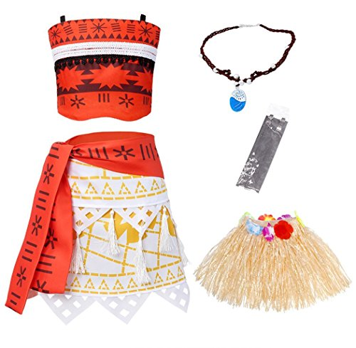 Skirt Halloween Hula (AmzBarley Princess Moana Costume for Baby Girls Party Outfits with Necklace and Hula 5-Pieces Skirts Sets Age 1-2 Years Size 3T)