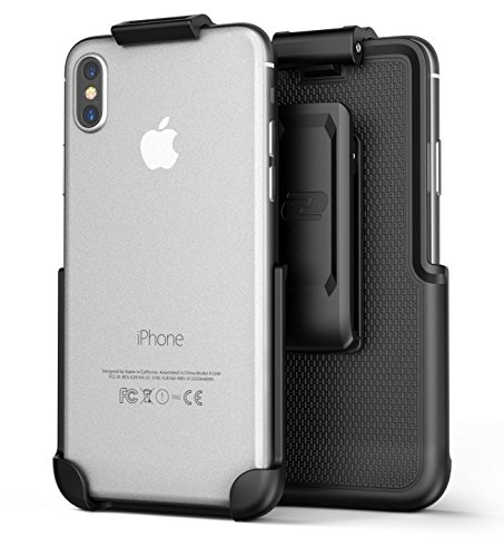 iPhone X Belt Clip (case free design), Encased ClipMate² Non-Slip Rotating Holster – for Apple iPhone X (Smooth Black)