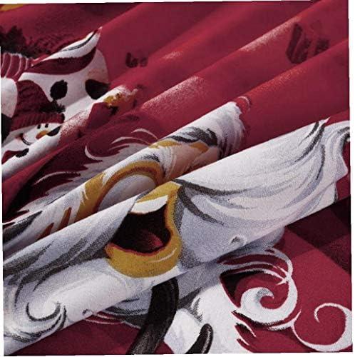 4pcs fibre de polyester 3d bouclier imprimé dessin animé Joyeux Noël cadeau Père Noël poche profonde Literie Linge de lit drap de lit 2 taies