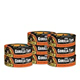Gorilla Tape, Black Duct Tape, 1.88'' x 35 yd, Black, (Pack of 8)