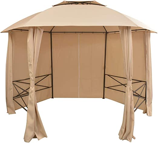 vidaXL Carpa de Jardín con Cortinas Hexagonal Beige 360x265 cm Cenador Patio: Amazon.es: Hogar