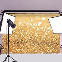 MOHOO 7X5ft Cotton Polyester Photography Background Gold Photography Photo studio Props Wedding Party Washable Backdrop 2.1 x 1.6m