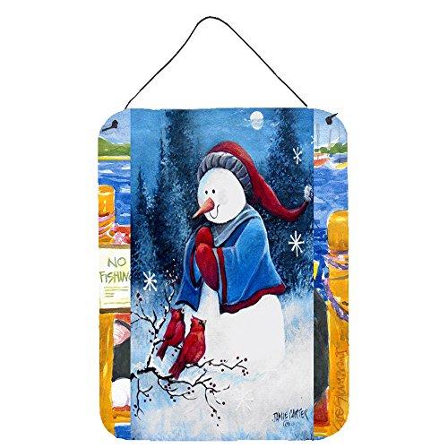 (Caroline's Treasures PJC1013DS1216 Hello Winter Friends Snowman Wall or Door Hanging Prints, 16 x 12, Multicolor)