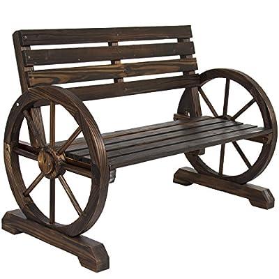 LTL Shop Patio Garden Wooden Wagon Wheel Bench Rustic Wood Design