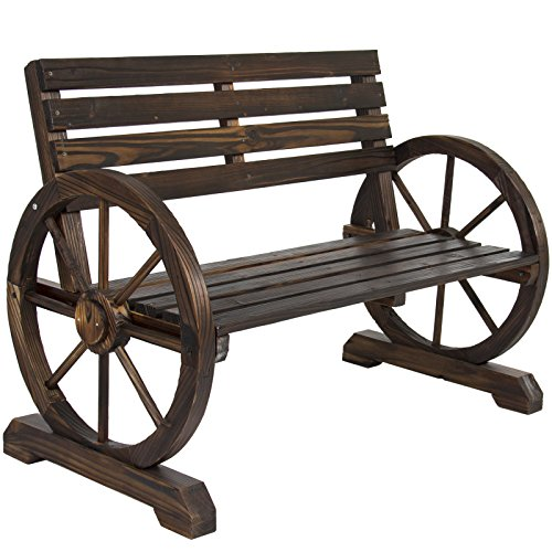 LTL Shop Patio Garden Wooden Wagon Wheel Bench Rustic Wood Design -