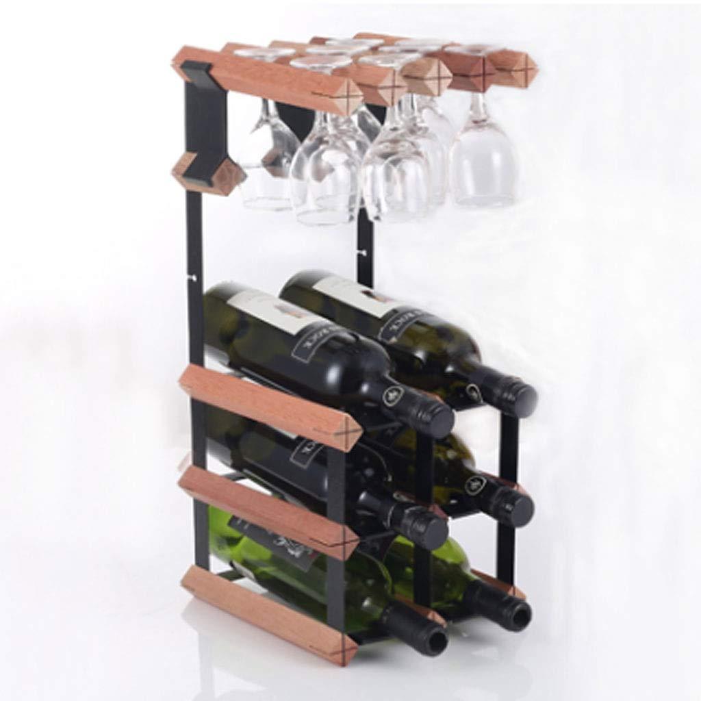 ワインラックハンギングカップホルダー木材ハンギングカップホルダーワイン収納ラック (色 : 6 bottles) B07RL2BSN9 6 bottles