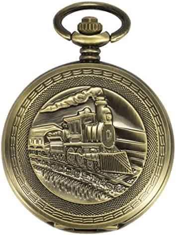 ManChDa Antique Men Pocket Watch Automatic Mechanical Bronze Case 3D Steam Train Railroad Ruman Numerals