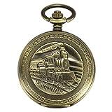 ManChDa Antique Mens Pocket Watch Automatic Mechanical Bronze Case 3D Steam Train Railroad Ruman Numerals