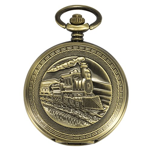 Antique Men Pocket Watch ManChDa Automatic Mechanical Bronze Case 3D Steam Train Railroad Ruman Numerals