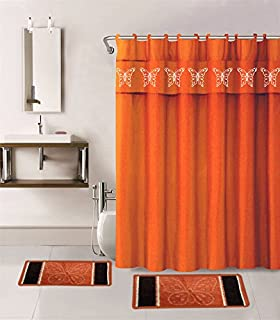 Gorgeous Home 15PC ORANGE BUTTERFLY DESIGN BATHROOM BATH MATS SET RUG CARPET SHOWER CURTAIN HOOKS NON