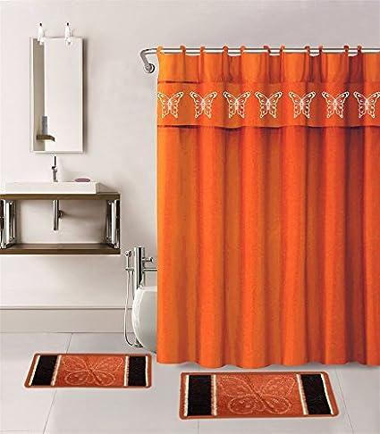 Gorgeous Home 15PC ORANGE BUTTERFLY DESIGN BATHROOM BATH MATS SET RUG  CARPET SHOWER CURTAIN HOOKS NON