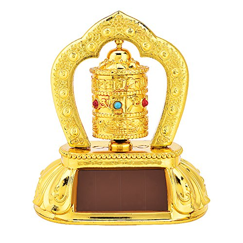 Solar Energy Prayer Wheel, Car Spinning Prayer Wheel Solar Energy Power Tibetan Buddhist Prayer Wheel Ceremonial Auspicious Items Car Decoration