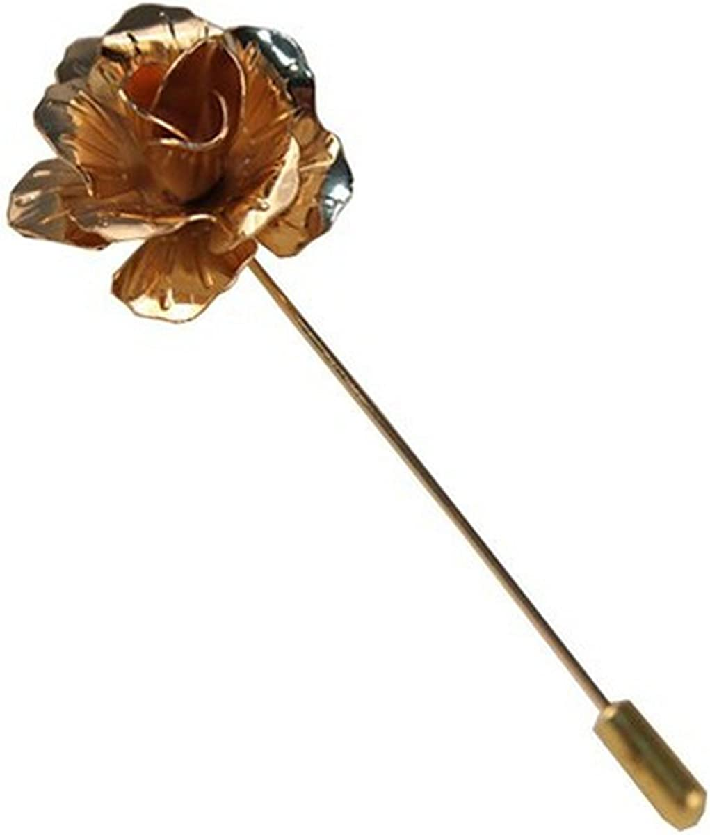 Sunny Home Mens Floral Golden Flower Lapel Stick Brooch Pin for Suit