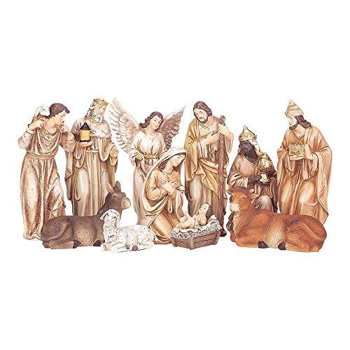 Dicksons Traditional Nativity Scene Neutral Tone 10 x 6 Resin Stone Christmas Figurine, Set of 11 (Stone Nativity Scene)