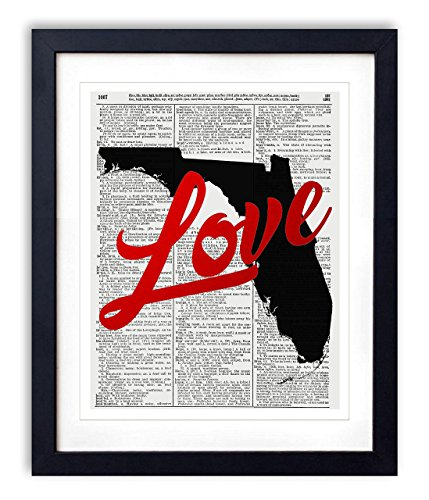 - Florida Love Red Foil Stamped Art Print - Vintage Dictionary Reproduction Art Print