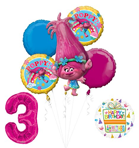 Mayflower Products NEW TROLLS POPPY 3rd Birthday Party Supplies And Balloon Bouquet Decorations