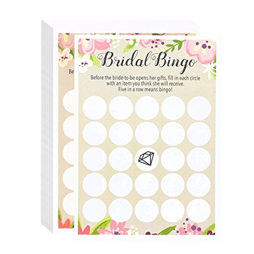Bingo Shower Wedding Games (Bridal Shower Bride to Be Gift Bingo - Pink Rustic Vintage Floral Flower Themed Bridal Shower and Wedding Anniversary Party Game Cards - Includes 50 Blank Sheets - 5 x 7 Inches)