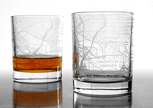 City Map Whiskey Glass by RES|SCU - Set of 2. Premium 10.5 oz Rocks Style Glassware for Fine Scotch, Bourbon and Cocktail Drinks, Unique Gifts for Men, 100% Lead-Free - Minneapolis, (2 Map Set)