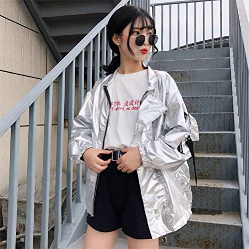 Style Donna Leggero Maniche Giubbino Collo Outwear Cucitura Festa Eleganti Primaverile College Silber Coat Fashion Della Giacca Ragazze Monocromo Estivi Lunghe Relaxed Barca Casual Prt5qwPnY