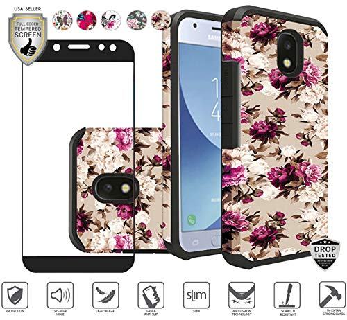 Rubberized White Flowers Design - Galaxy J7 2018/Refine/Star/TOP/J7 V 2nd Gen/Aero/Aura/Crown Case with Tempered Glass Screen Protector, Girly Women Beautiful Premium Rubberized Design Hybrid Case (Pink White Flowers)