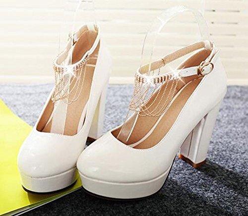 Chfso Donna Alla Moda Tinta Unita Con Fibbia Alla Caviglia Cinturino Alla Caviglia Medio Tacco Grosso Pompe Da Lavoro Bianche