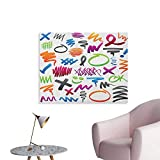 Anzhutwelve Doodle Art Stickers Pencil Drawings with Vibrant Colors Lines Marker Strokes Circles
