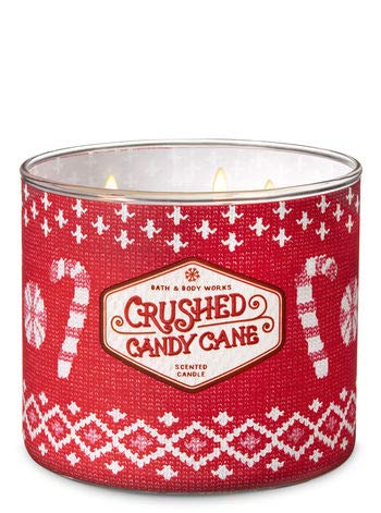 (Bath and Body Works Crushed Candy Cane Scented 3 Wick Candle Winter 2018)