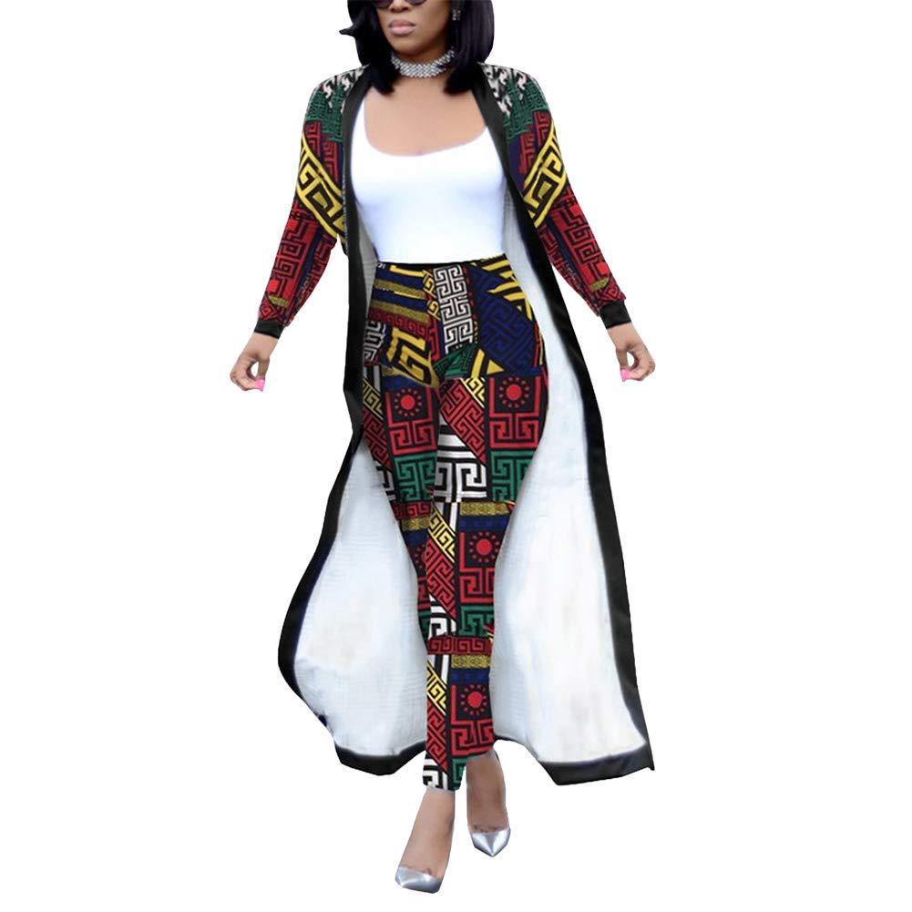 Women 2 Piece Outfits Clubwear Long Sleeve Open Front Cardigan Pants Set XL