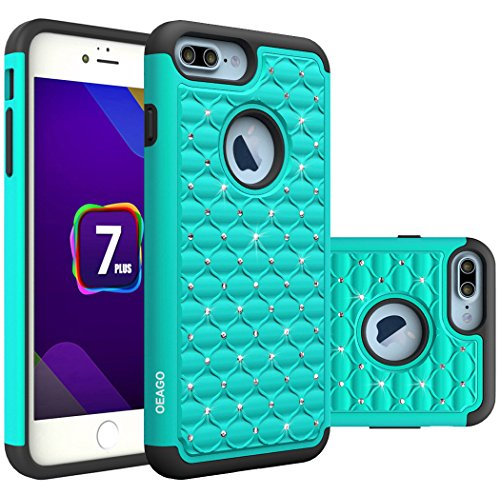 iPhone 7 Plus Case, OEAGO iPhone 7 Plus Case Studded Rhinestone Crystal Bling Diamond Shock Absorbing Hybrid Dual Layer Protective Case Cover for Apple iPhone 7 Plus - Mint