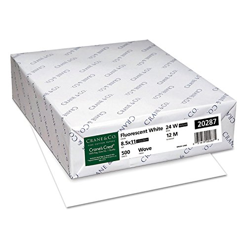 Neenah Paper 20287 CRANE'S CREST 100% Cotton Paper, 24lb, 98 Bright, Letter, Fluor.White, 500 Sheet Crest Stationery