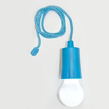 Bombilla de LED con baterias para colgar. Color azul. Funciona a pilas (incluidas): Amazon.es: Bricolaje y herramientas