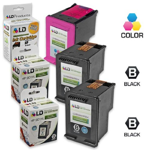 LD Remanufactured Ink Cartridge Replacements for (HP) CC654AN 901XL & CC656AN 901 (2 Blk & 1 Clr) for OfficeJet J4540, J4580, J4660, G510a, J4680c, G510n, J4524, J4550, 4500, J4624, J4680, G510g