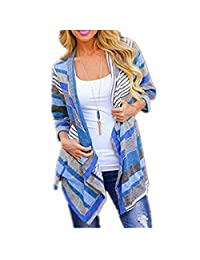 Harmily Women Blouses Shirts Coats Stitching Sleeve Striped Irregular Knit Tops