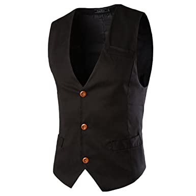 Boom Fashion Hombre Elegante Chaleco Traje Slim Fit Waistcoat