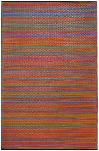 Fab Habitat Reversible Rugs   Indoor or Outdoor Use   Stain Resistant, Easy to Clean Weather Resistant Floor Mats   Cancun - Multicolor, (5' x 8')