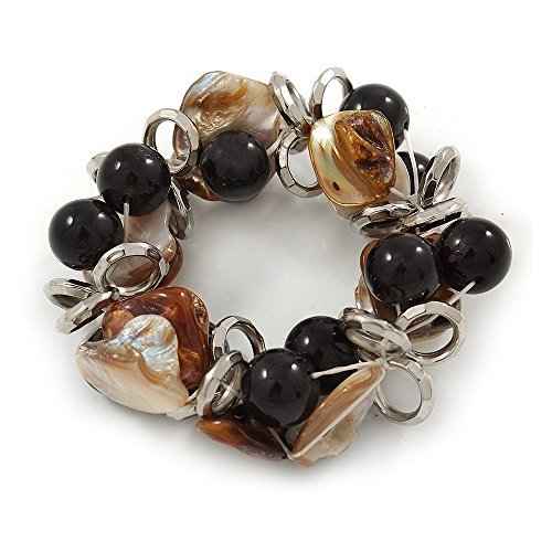 Avalaya Brown/Natural Sea Shell Black Acrylic Bead with Silver Tone Metal Links Flex Bracelet - 17cm L