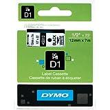 """DYMO Labeller Tape, D1 Tape Cassette 1/2"""" x 23', 1-Carded, Black on White (45013)"""