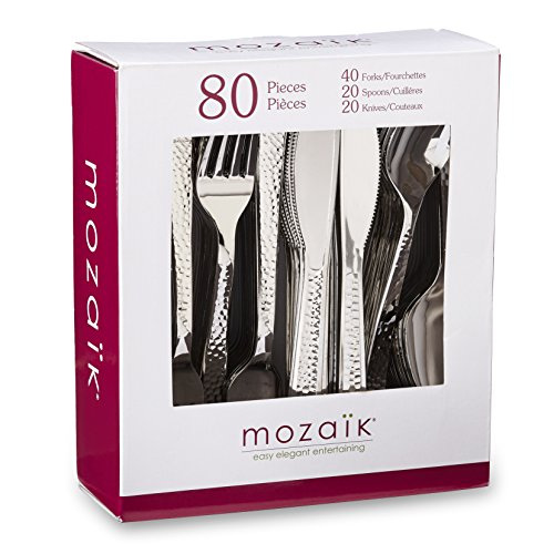 Mozaik Premium Plastic Hammered Stainless Steel Coated Assorted Cutlery, 80 pieces