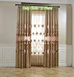 Cheap Neoclassical Delicate Embroidery Semi Cloth Curtains for Living Room Metal Grommet Luxury Chenille Hollow Luxurious Royal Design Window Panel for Bedroom, 1 Piece Brown Curtain 84 inches long, 52×84