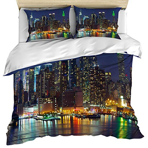 New York 3 Piece Bedding Set Comforter Cover King Size, NYC Midtown Skyline in Evening Skyscrapers Metropolis City States, Duvet Cover Set Bedspread Daybed with Zipper Closure for Kids/Teens/Adults
