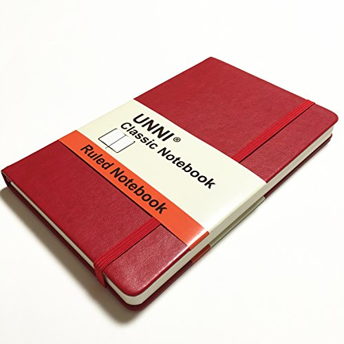 """Unni Classic Notebook Journal, Size:5"""" X 8.25"""", A5, Ruled, Red, 240 Pages, Hard Cover/Fine PU Leather, Writing Notebook, Diary Journal, Banded journal, Bookmark, Hardbound"""