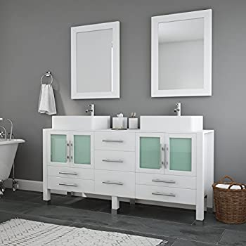 63 Inch Modern White Double Vessel Sink Vanity Set, Chrome ...
