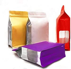 Resealable bags mylar eco food save zipper colored heavy duty baggies cute  Flat bottom stand up zip reusable bag for tshirts jerky   gold green coffee bags valve vented (40pcs,4colors,7.9x11.8+4inch)