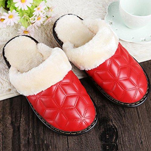 Invierno Y Cálido Casual Piel Sintética En Zapatillas Rojo 36 Interior De Otoño La Acolchada Ladies Zapatillas IX0Bq0