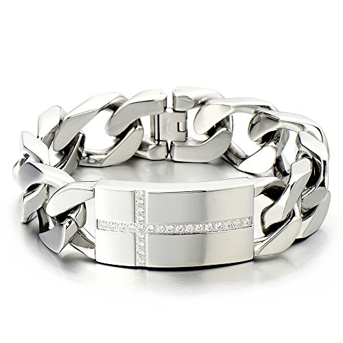 Large Steel Cross Stainless - Mens Large Stainless Steel Cross Identity Curb Chain Bracelet Set with Cubic Zirconia Hip Hop Rock